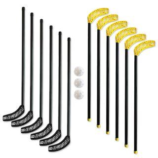 Hockeyset 12 Schläger + 3 Bälle Junior